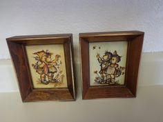 Vintage Wooden Pair of Hummel Pictures by thingsbybrinda on Etsy