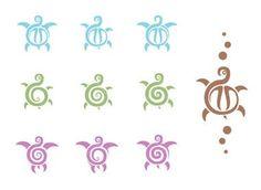 Coloured Tribal Turtle Tattoos Designs