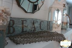 Make your own weathered looking beach sign aqualanedesign.com  #aqualanedesign #beachy #palletsign #pallet #beach #potterybarn #inspired