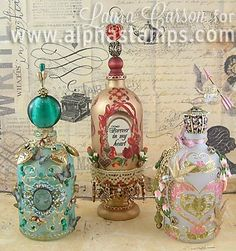 Alpha Stamps News » Decorative Techniques for Altering Bottles by Laura Carson