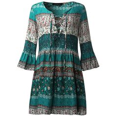 Bohemian  Flounce Bell Sleeve Floral Printed V-neck Mini Dresses (1630 RSD) ❤ liked on Polyvore featuring dresses, newchic, floral cocktail dresses, blue floral dress, flutter sleeve dress, long-sleeve mini dress and cocktail dresses