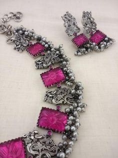 Jewelry Design Earrings, Gold Jewellery Design, Bead Jewellery, Oxidised Jewellery, Indian Jewelry Sets, Silver Jewellery Indian, Silver Jewelry, Silver Accessories, Fashion Jewelry
