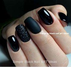 matte black and sparkle nails - sparkle matte nails . matte and sparkle nails . matte nails with sparkle . matte black and sparkle nails . Black Nail Designs, Acrylic Nail Designs, Nail Art Designs, Nails Design, Short Nail Designs, Cute Nail Polish, Cute Acrylic Nails, Purple Nail Polish, Glitter Nail Polish