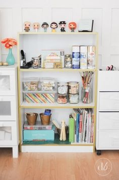 Stick washi tape to your bookcase for effortless gold edging: | 31 Gorgeous Furniture Upgrades For Your Grown Up Apartment