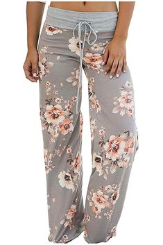 Elsofer Women's Palazzo Pajama Pants Summer Comfy Casual Stretch Floral Print Drawstring Wide Leg Beach Lounge Pants (Tag L (US Light Grey) Lounge Pants, Lounge Wear, Jogging, Pajamas For Teens, Pijamas Women, Womens Pyjama Sets, Comfy Casual, Casual Pants, Casual Wear