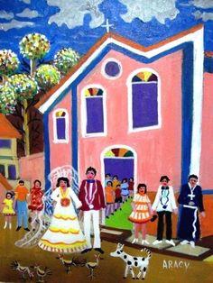 ARACY TEMA CASAMENTO NO INTERIOR A VENDA COM AJUR SP (Painting),  30x40 cm por Arte Naif AJUR SP VENDEDOR E DIVULGADOR DA ARTE NAIF BRASILEIRA