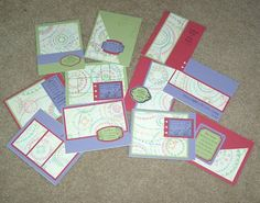 One Sheet Wonder.  11 different card fronts from ONE piece of 12x12 patterned paper & 6 pieces of 8.5x11 cardstock.  Instructions & cutting diagram included.