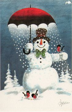 snowman and feathered friends in snow shower