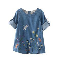 Autumn Spring Children Clothing Girls Dragonfly Flower Embroidery Fresh Denim Baby Dress #Affiliate