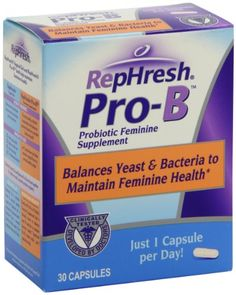 RepHresh Pro-B Probiotic Feminine Supplement, 30-Count Capsules - Just 1 Capsule per Day Balances Yeast & Bacteria to Maintain Feminine HealthLactobacillus, yeast, and other bacteria are all naturally present in your body, and optimum vaginal health occurs when ther... - Multiple Vitamin-Mineral Supplements - Health class=