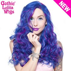 Lace Front Peek-A-Boo - Royal Blue with Magenta highlight -00696