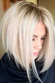 An inverted bob haircut is a trendy variation of a classic bob haircut that is one length. Its front is longer, and it frames a woman�s face and thus makes it appear slimmer. And the layers become shorter towards the back, making it more voluminous. Now l Edgy Bob Haircuts, Inverted Bob Hairstyles, Haircuts For Fine Hair, Wavy Hairstyles, Longer Bob Hairstyles, Wedding Hairstyles, Hairstyles 2016, Latest Hairstyles, Short Female Hairstyles