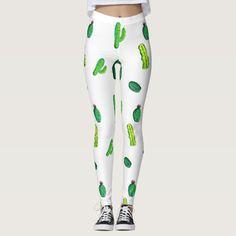 Cute Watercolor Cactus Patterned Leggings. #leggings