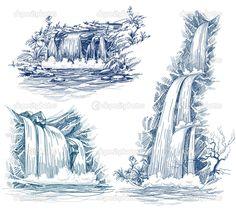 comment dessiner une cascade d'eau - Recherche Google