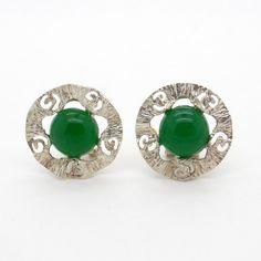 Chrysoprase Earrings  Silver Earrings  Green by VintageArtAndCraft
