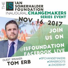 NOV. 16th 2017 Inaugural Change makers series event Facebook Live event!