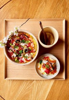 Condé Nast Traveler: Barachirashi, which roughly translates to a scattering of fish pieces too irregularly shapqqed . Sweet Sushi, Glass Cabin, Salmon Roe, Clay Soil, Seasonal Flowers, Mussels, Plates And Bowls, Sashimi, Food Festival
