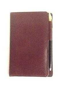 "Pocket Day Timer Burgundy Leather Made in USA 3.5x5.5"" #Daytimer"