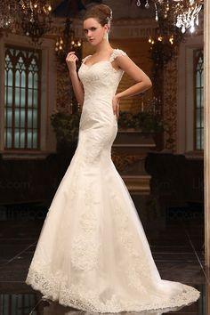 Trumpet/Mermaid Sweetheart Straps Appliques Lace Court Train Wedding Dress