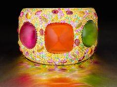 Stunning mandarin garnets and pink and green tourmaline in this cuff from Margot McKinney