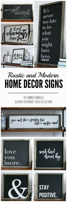 Rustic and Modern Home Decor Signs + Giveaway  http://www.nicehomedecor.site/2017/07/16/rustic-and-modern-home-decor-signs-giveaway/