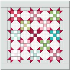 Snowball quilt blocks between nine patches