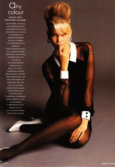 """Claudia Schiffer- """"Any Colour… So Long As It's Black,"""" Vogue UK, December, 1989. Photographer: Terence Donovan."""