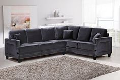 Meridian Furniture 655GRY-Sectional Ferrara Velvet Upholstered 2 Piece Sectional Sofa with Square Arms, Silver Nailhead Trim, and Custom Solid Wood Legs, Grey