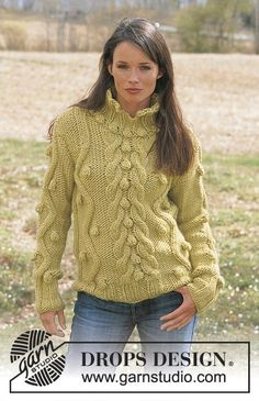 Free knitting patterns and crochet patterns by DROPS Design Aran Sweaters, Cable Sweater, Hand Knitted Sweaters, Sweater Cardigan, Aran Knitting Patterns, Lace Knitting, Crochet Patterns, Handgestrickte Pullover, Knit Cardigan Pattern