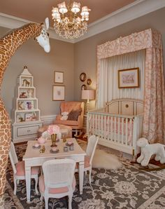 Girls nursery design by Kristin Ashley Interiors for the Mansion in May 2014 at Blairsden. (Walls) UltraSpec Flat, Smokey Taupe 983 (Trim) Aura, Semi-GLoss, White Dove OC-17 (Ceiling) ADVANCE, High Gloss, East Lake Rose 043 www.kristinashleyinteriors.com