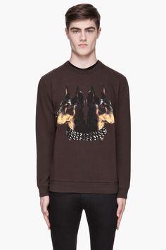 Givenchy Mens Brown Doberman Print Sweatshirt