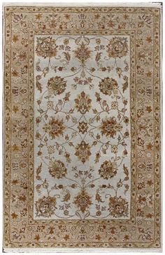 4x6 Wool Rug Convertable 4x6 wool rug Ziegler Floral Hand Knotted Ivory Wool Rug 439 X