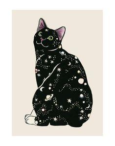 Cat Art print   Galaxy Cat  8.3 X 11.7 print  4 by matouenpeluche