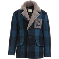 Boys Blue Check Wool Jacket with 'FF' Logo, Fendi, Boy