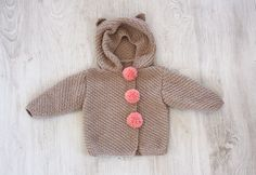 Handknit Baby Jacket with Hood, Knit Hoodie Beige Teddy Bear Clothes, Knit baby sweater, Made to order