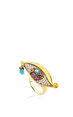 Evil Eye Amethyst And Turquoise Ring by Sylvie Corbelin for Preorder on Moda Operandi