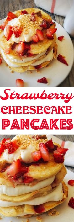 A melt in your mouth sweet cream pancake topped with creamy cheesecake, graham cracker crumbs and strawberries. Easy and quick pancake recipe.