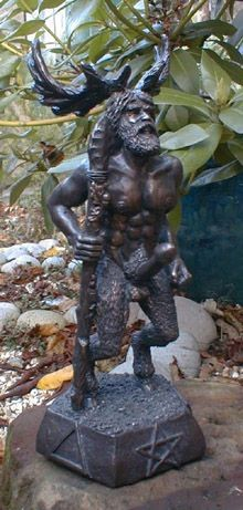 Statue of the antlered Celtic God Cernunnos, similar to one Henry sees at the Duchesne estate.