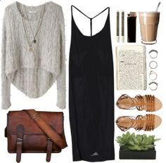 Black Kozue dress   Helmut Lang Angora Floats Pullover   J.Crew Milano leather gladiator sandals   Leather Messenger Bag Shoulder Bag   Topshop Skull Multirow Necklace