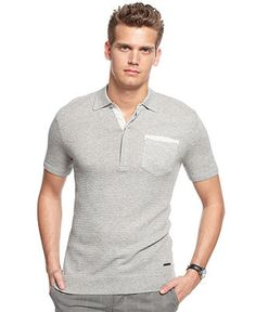 Calvin Klein Shirt, Knotted Eyelet Polo Shirt - Macy's