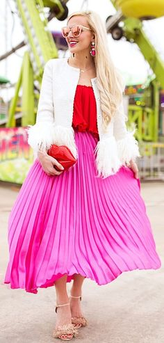 White Jacket / Red Pleated Off Shoulder Top / Pink Pleated Maxi Skirt / Nude Sandals / Lips Shape Clutch                                                                             Source