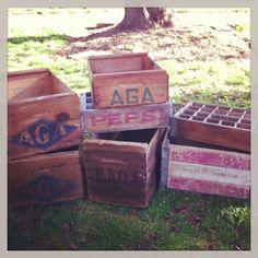 Lots of rustic crates