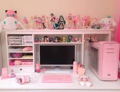 kawaii room diy Full Gaming Setup Just need to receive some spare parts from a friend and my mouse then Ill start building Cute Room Decor, Room Ideas Bedroom, Bedroom Decor, Bedroom Girls, Bedrooms, Salle Pastelle, Minecraft Decoration, Kawaii Bedroom, Gameroom Ideas