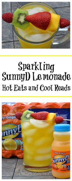 Perfect summertime drink and snack for the kiddos! Sparkling SunnyD Lemonade with Fresh Fruit Skewers from Hot Eats and Cool Reads #WhereFunBegins #ad