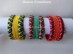 Silk Thread Bangles Design, Silk Bangles, Bridal Bangles, Thread Jewellery, Silk Thread Earrings Designs, Bangles Making, Bangle Set, Jewelries, Indian Jewelry