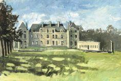 Le château de Raray. Peinture à la gouache exécutée sur le motif en avril 1987. art. French painter. painting.