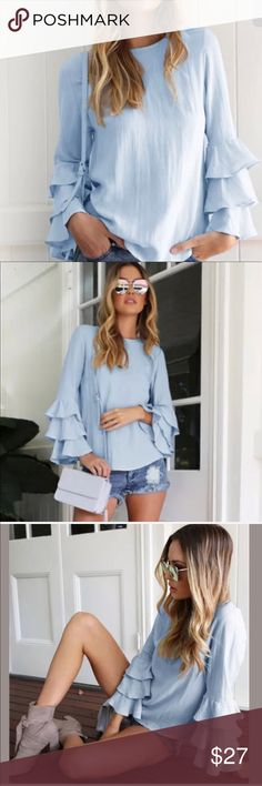 Last! On trend ruffled sleeves blouse. Beautiful ruffles adorn this updated basic. The styling options are endless. Very thin airy fabric great for layering. No stretch. Ask questions. One left in medium. Ships within 48 hrs. Gift 🎁 with purchase. Trusted seller.  Material: Chiffon Color: Blue  Sizes.          6, 8, 10, 12  Marked.       M L.  XL  XXL Note: ONLY M/6 remaining  Sizes are 2 sizes smaller. And marked above Trusted Seller. Gift with purchase. Ships within 48hrs. Ask questions…