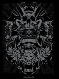 Promo Prints by Joshua M. Smith, via Behance Joshua Smith, Japan Tattoo, Print Design, Graphic Design, Skull Art, Printmaking, Samurai, Screen Printing, Lion Sculpture