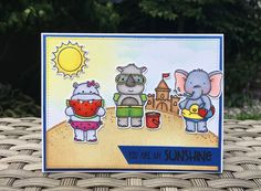 Beach Day stamp set from Neat and Tangled. Card by Mocha Frap Scrapper Neat And Tangled, Have A Good Weekend, You Are My Sunshine, Beach Day, Note Cards, Stampin Up, Stamps, Elephant, Crafty