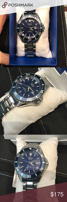 Pulsar Men's Solar Blue Watch Beautiful men's pulsar solar blue face with bezel Watch! PX3067! Solar powered Watch never have to worry about changing a battery! If you have any questions please leave a comment and will get back to you ASAP. Thank you :) Pulsar Accessories Watches